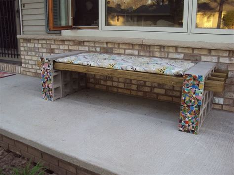 cinderblock bench concrete block bench outdoors pinterest