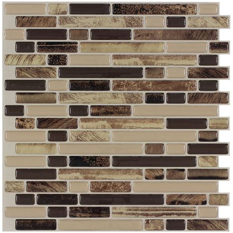 Mosaic Wall Tiles Shop Peel Stick Mosaics Rockbridge Linear Mosaic Composite