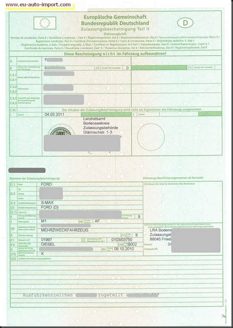 Schweiz Brief Deutschland Strassenverkehrsamt Ratgeber Eu Auto Import Teil 2