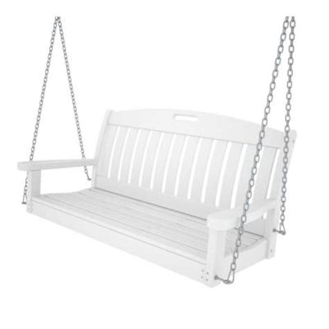 polywood nautical 48 in white patio swing ns48wh the