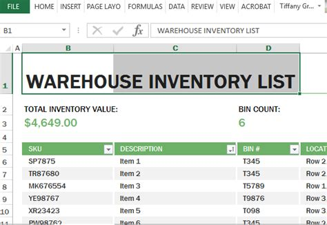 Warehouse Inventory Excel Template Warehouse Inventory Excel Template Free