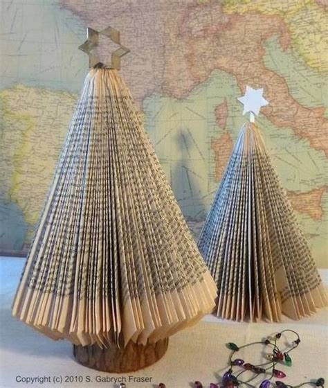 paperback book christmas tree art design diy pinterest