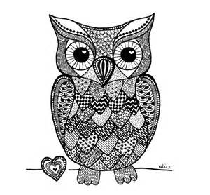 Black amp white zentangle inspired owl with heart quot by alice gerfault