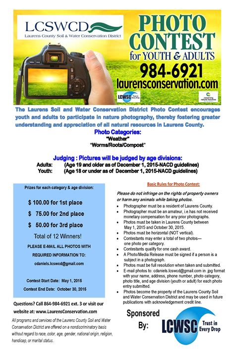 photo contest flyer template 2015 lcswcd photo contest laurens county water sewer commission
