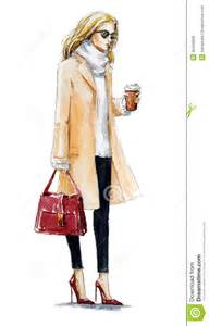 Street fashion fashion illustration of a blond girl in a coat autumn