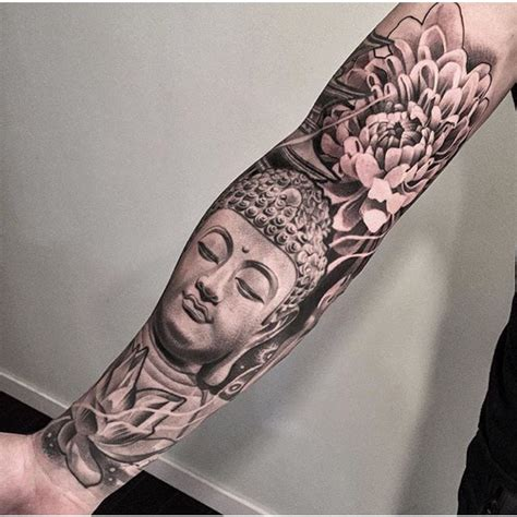 tattoo full hand black and gray black and grey buddha tattoo sleeve lotus tatts 2 0