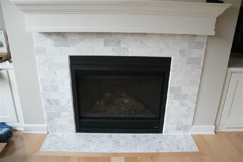 marble subway tile fireplace surround carrara white marble subway tiles fireplace surround