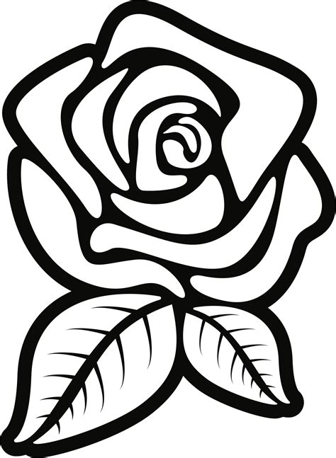 black and white coloring pages of roses clipart rose 4