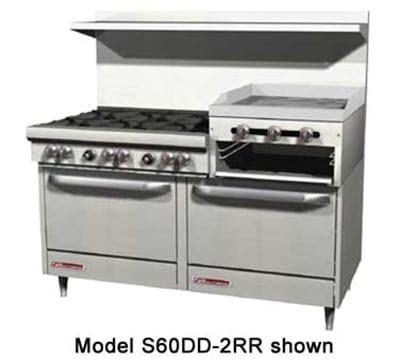 """southbend 4603ad 2rr 60"""" 6 burner gas range with griddle"""