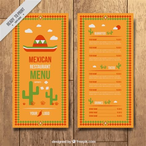 mexican restaurant menu templates mexican menu template vector free