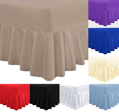 Single Fitted Valance Sheet plain frilled fitted valance sheet cotton blend sheets single king ebay