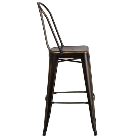 copper weathered high back tolix bar stool