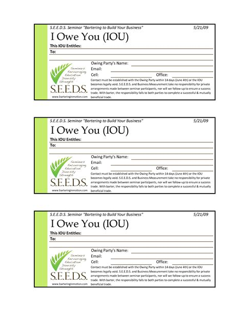 Iou Template Free Printable Documents I Owe You Contract Template