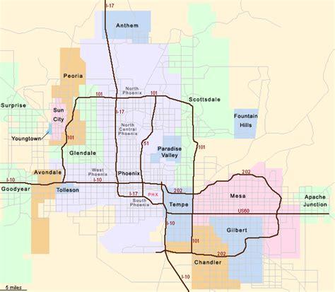 printable phoenix area map phoenix vicinity map