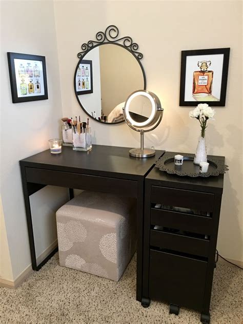 Micke Desk Vanity by Diy Vanity Micke Desk Micke Drawer Unit Chanel Prints