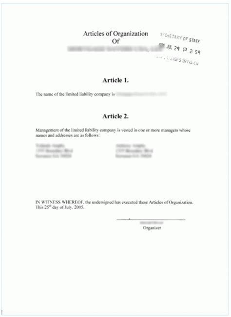 articles of organization texas template