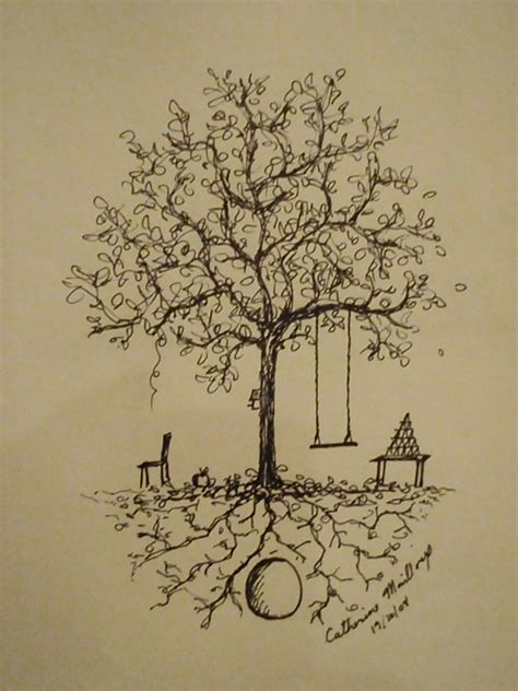 tree with swing drawing tree swing by purpleavocado on deviantart