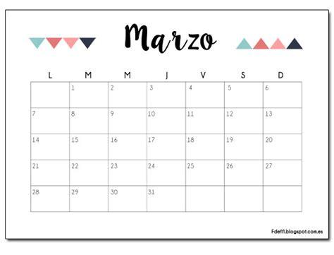 Calendario 2017 Por Mes Imprimible Gratuito Calendario Para Marzo 2016 F