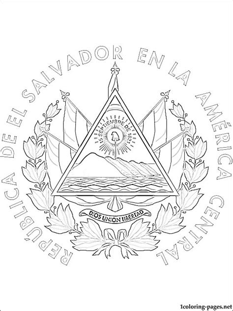 el salvador coat of arms coloring page coloring pages