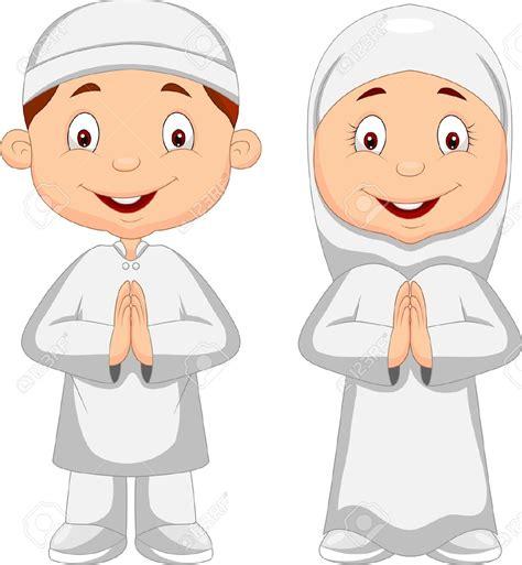 gambar kartun anak muslim vector medsos