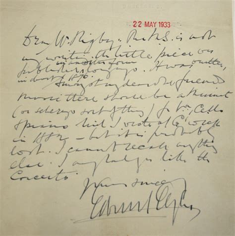 Offer Letter Without Signature Sir Edward Elgar Signed Letter Signature Is On Original Headed Paper From The Lord Chamberlains