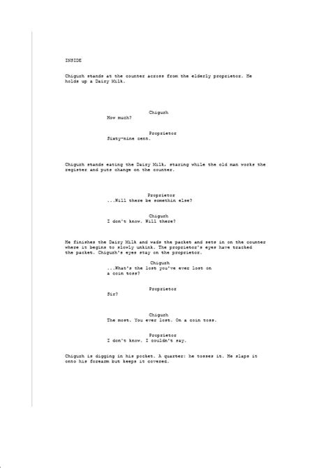dairymilkproductions: No Country For Old Men Script