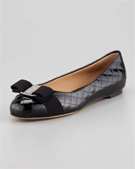patent leather flats ferragamo isea quilted patent leather flat in black nero black lyst