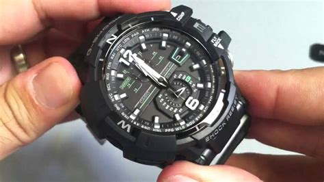 G Shock Gwa1100 Black Rubber casio g shock aviation gwa1100 1a3 solar atomic compass