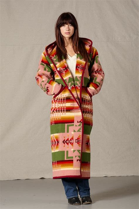 indian pattern hoodies womens wool long coats reversible native american indian
