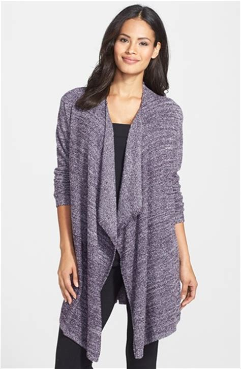 barefoot dreams bamboo chic drape front cardigan barefoot dreams drape front cardigan in purple lyst