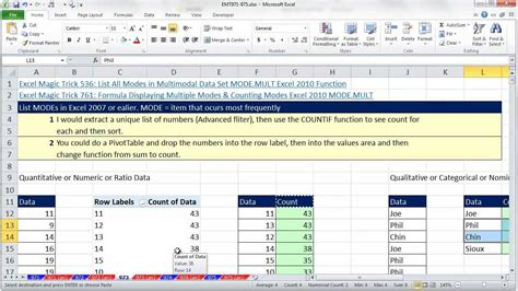 excel comfort systems excel magic trick 973 list multiple modes in excel 2007