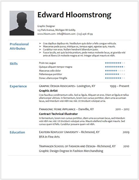 free resume templates word document resume template in word cv