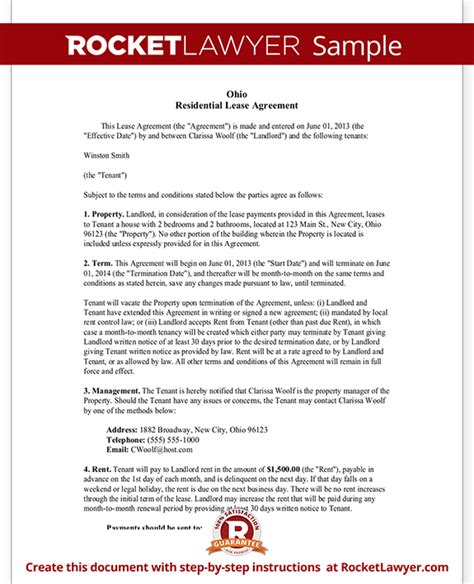 Ohio Lease Agreement Residential Lease Agreement Rental Agreement Free Residential Lease Agreement Template Ohio
