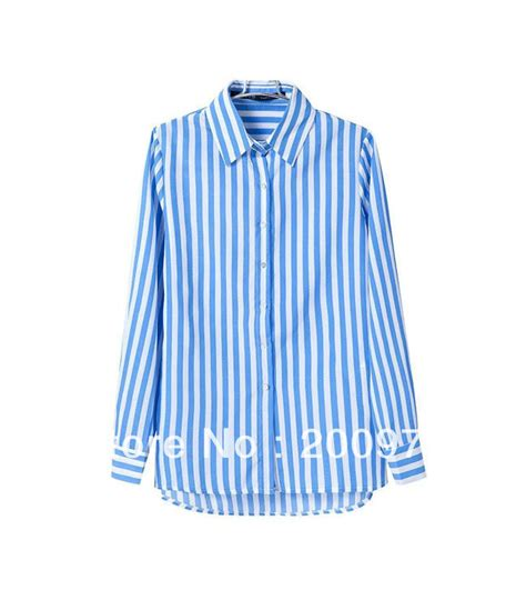 Blue Stripe S M L Blouse 44257 2013 new autumn lapel blue white vertical stripes