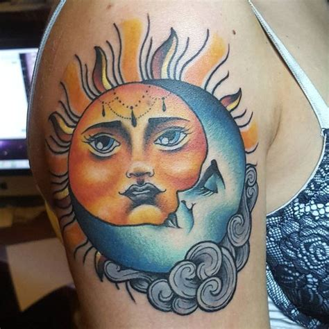 half sun half moon tattoo 50 moon crescent moon and sun and 2018