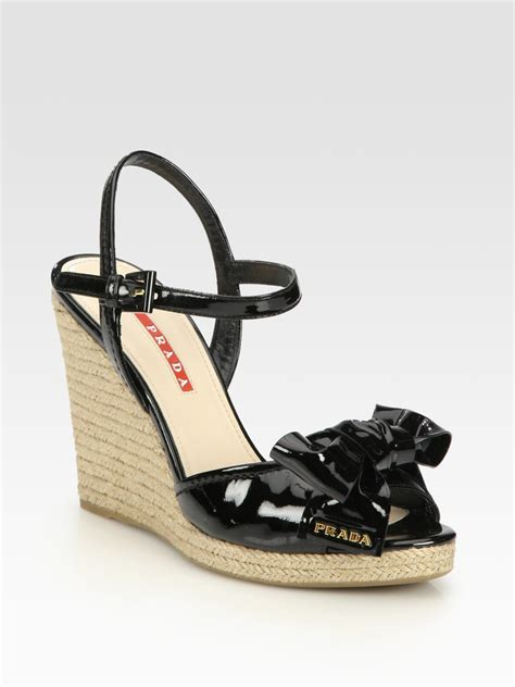 prada wedge sandals prada patent leather espadrille wedge sandals in black lyst