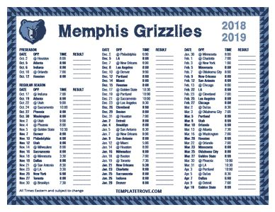 printable 2018 2019 memphis grizzlies schedule