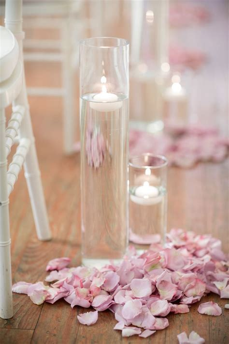 Blush Rose Petal, Floating Candle Wedding Ceremony Aisle