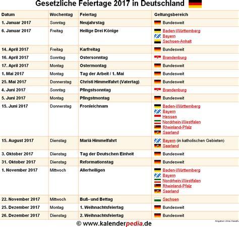 Feiertage Kalender 2017 Feiertage 2017 In Deutschland Mit Druckbaren Vorlagen