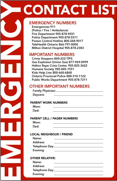 Emergency Numbers Card Template by Budget Template Free Budget Template Free