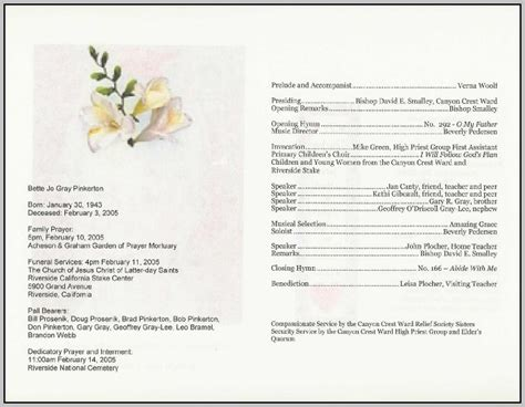Free Funeral Service Program Template Download Template Resume Exles Oakexylm7e Funeral Program Template For Mac