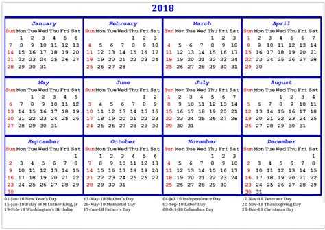 Calendar 2018 With Holidays Usa Printable 2018 Calendar With Holidays Printable Usa Uk Canada