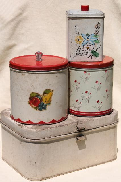 tin kitchen canisters vintage metal bread box tin kitchen canisters retro fixer uppers to paint or upcycle
