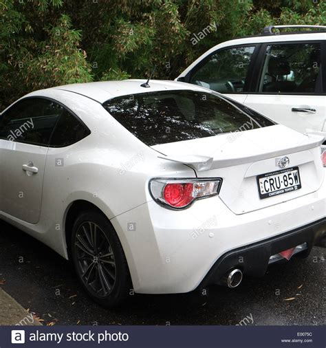 toyota white car 2 door white toyota sports car in sydney stock photo