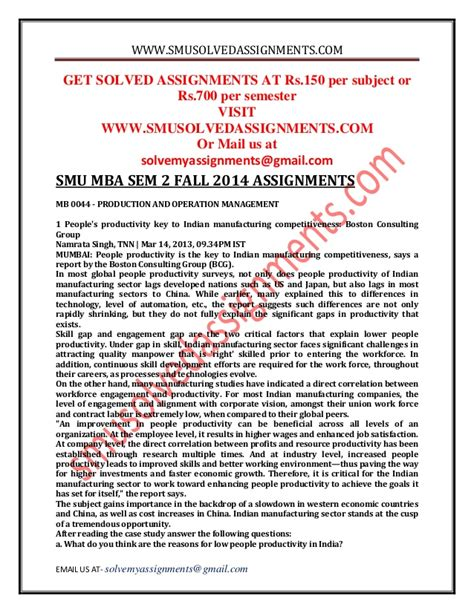Smu Executive Mba Fees by Smu Mba Sem 2 Fall 2014 Assignments