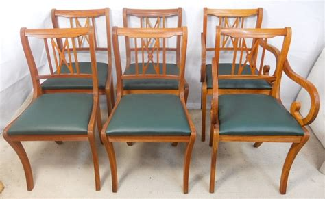 Yew Dining Room Furniture Set Of Six Yew Dining Chairs By Beresford Hicks