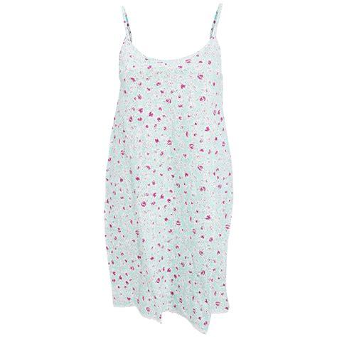 pattern night dress womens ladies rose pattern cotton strappy nightie night