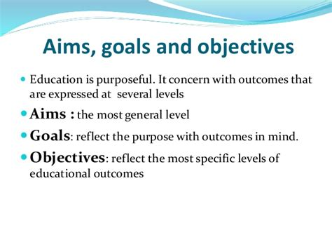 educational and career goals and objectives aims goals and objective purpose in curriculum development
