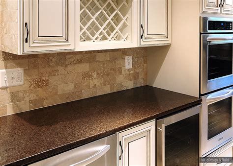 brown tile backsplash brown subway travertine backsplash tile