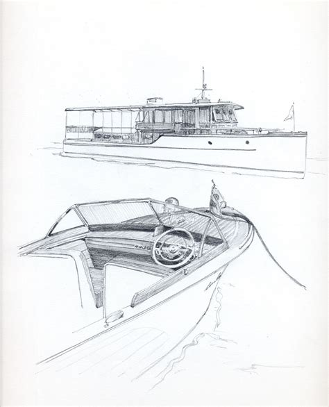 how to draw a power boat antique boat show chris craft runabout pencil drawing of